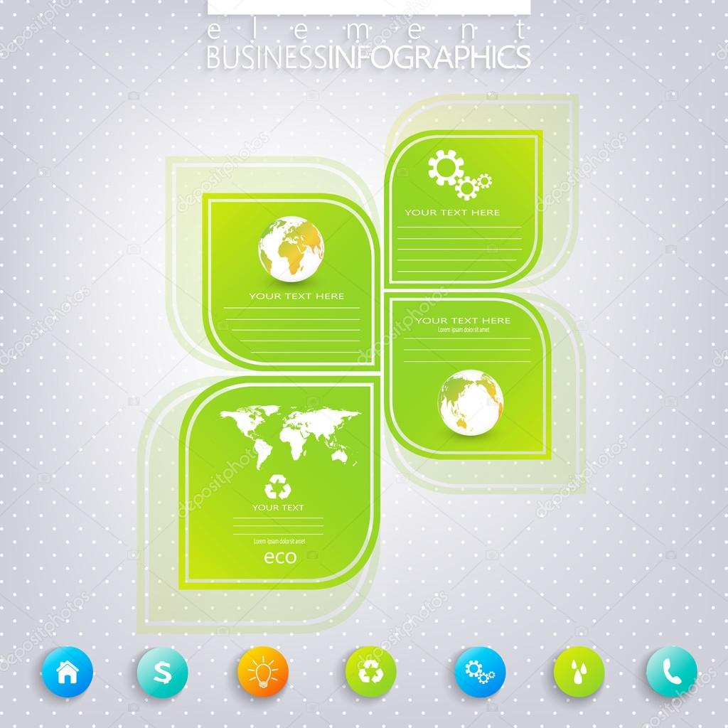 Modern green infographic design with place for your text. Can be used for workflow layout, diagram, chart, number options, web design