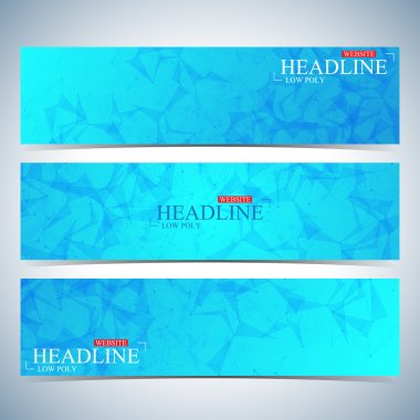 Set of polygonal horizontal backgrounds. Modern page website design template. Vector Illustration
