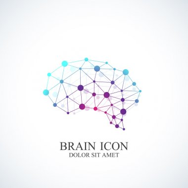 Colorful Vector Template Brain Logo. Creative concept design icon