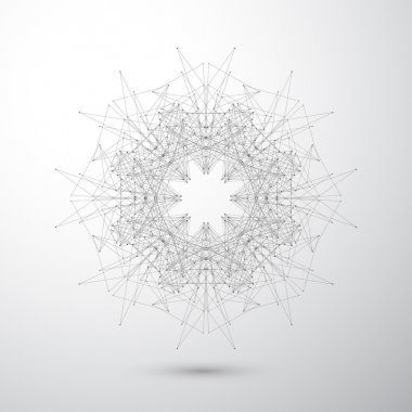 Geometric abstract form with connected lines and dots. Tecnology gray background for your design . Vector illustration