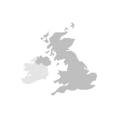 Grey Map United Kingdom In The Dot . Vector illustration