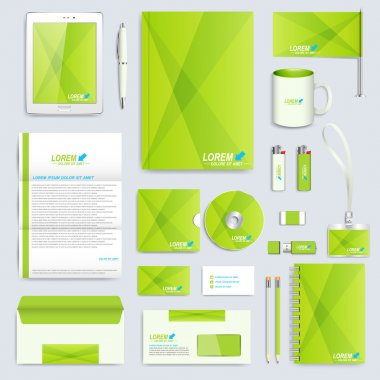 Set of vector corporate identity template. Modern business stationery mock-up. Branding design in the green stile