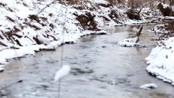 Ledová voda běží v rychlé spring Creeku. Sníh na skalách ve vodě