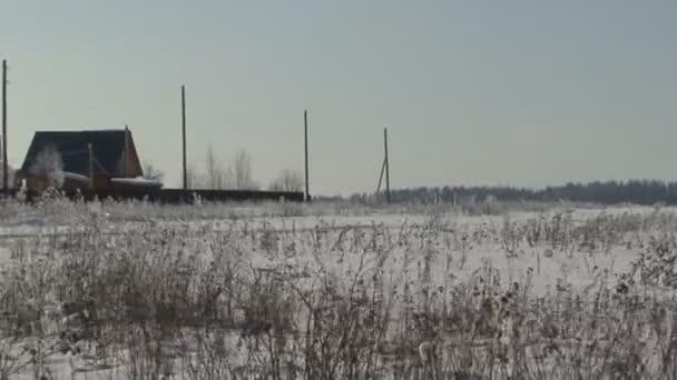 Vánoční zimní scény. sněhem pokryté pole, fotoaparát