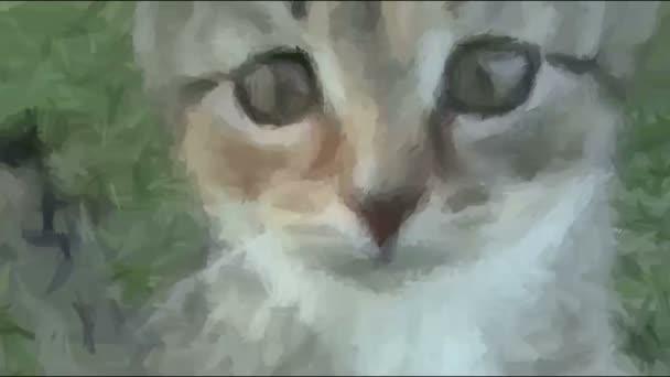 Live-Malerei. Katze