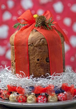 Panettone cake with Christmas decorations
