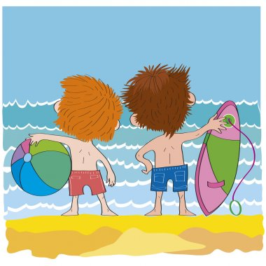 Cheerful children-boys on beach-illustration