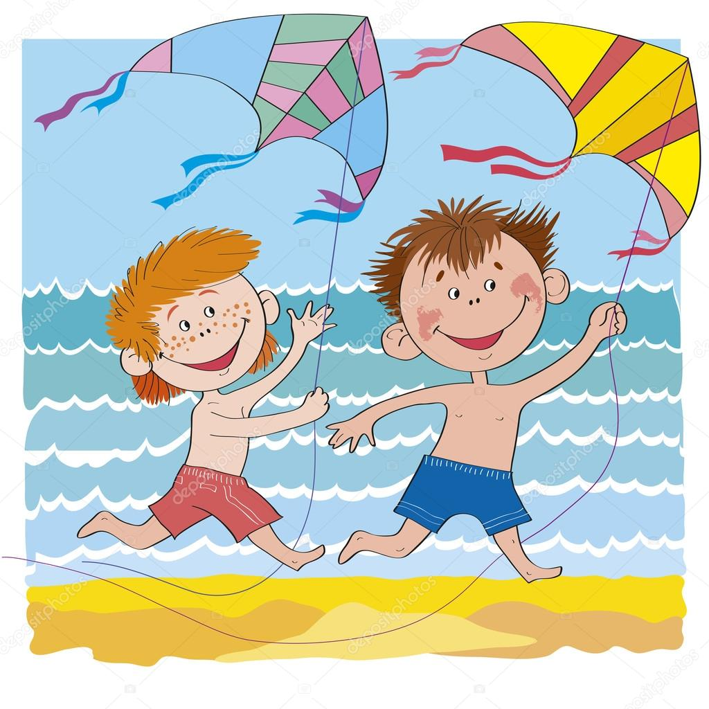 Children & kite.Cheerful children-boys on beach-illustration