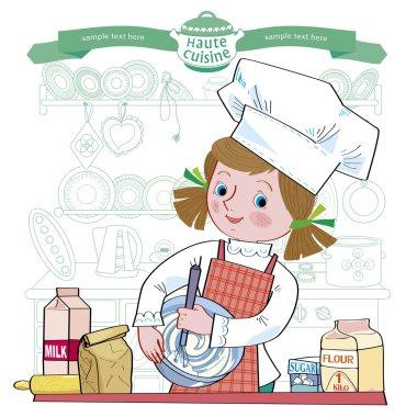 Girl-cook.Illustration