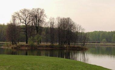 Kuskovo island on big palace pond in Kuskovo, Russia