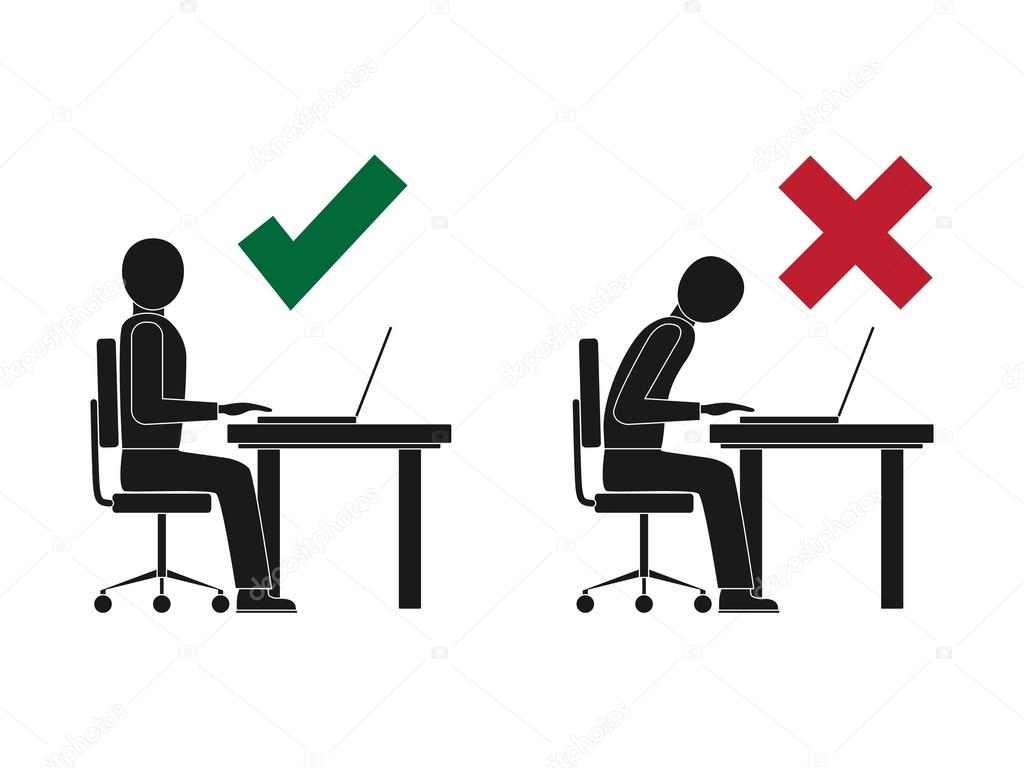 Correct And Incorrect Sitting Posture At Computer Stock