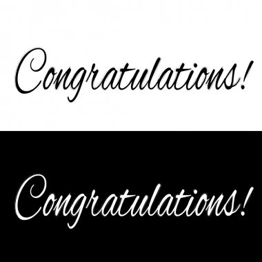 Black and white congratulations banner