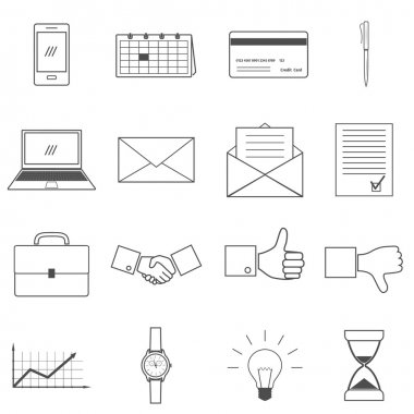 Business-man line icons set