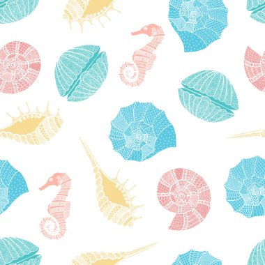 Seamless pattern of seashells and seahorses.