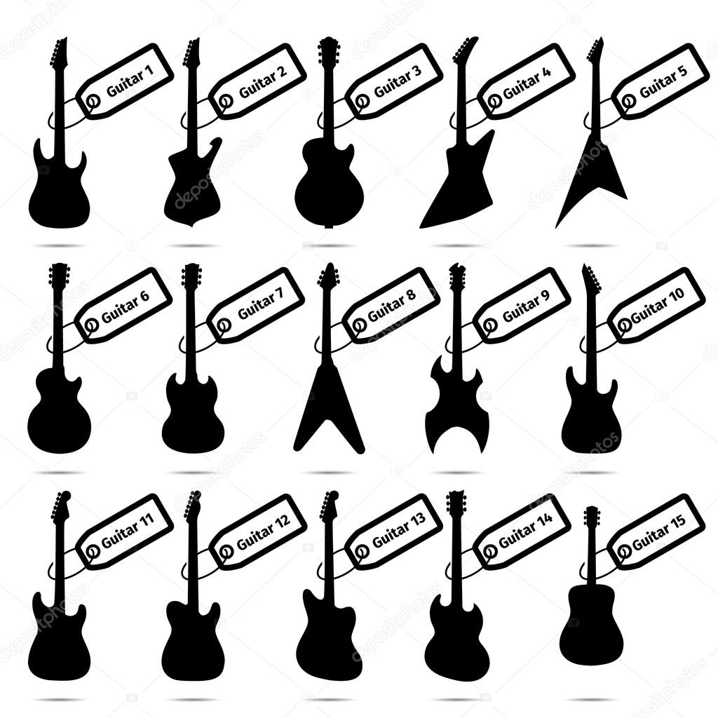 guitar icons set fifteen different models stock vector zarian Epiphone Casino Electric Guitar guitar icons set fifteen different models stock vector