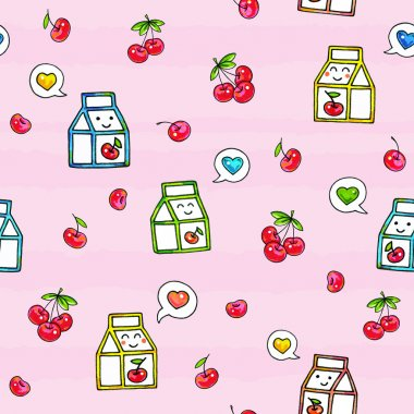 Kawaii food on pink background. Animation characters drawing. Seamless pattern cherry juice