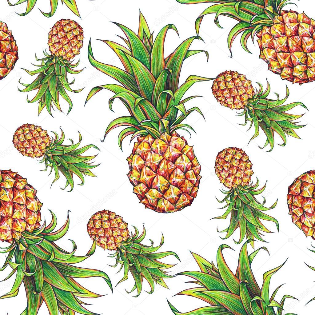 Ananas Rysunek ananas na białym tle. kolor rysunek markery. owoce