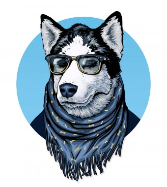 Husky wearing glasses and color scarf with drawing.