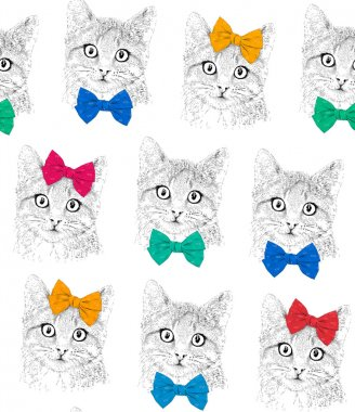 Cats with a bows. Seamless pattern.