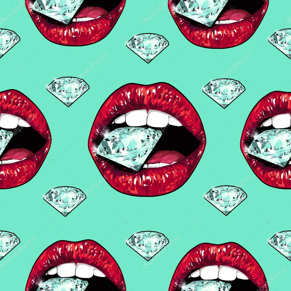 Bright lips holding a sparkling brilliant. Seamless pattern. Realistic graphic drawing. Background. Mint color