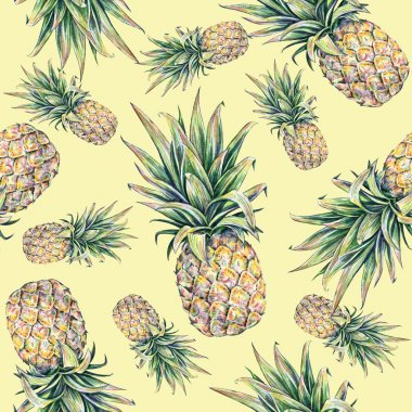 Pineapple on a yellow background. Watercolor colourful illustration. Tropical fruit. Seamless pattern