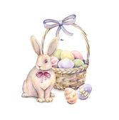Fényképek Nyúl a húsvéti kosár elszigetelt fehér background. A színes húsvéti tojás. Akvarell rajz. Kézimunka.