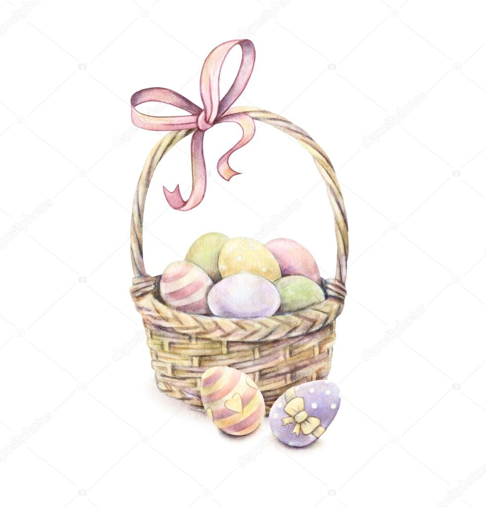 Easter Basket Isolated On A White Background Color Easter Eggs Watercolor Drawing Handwork