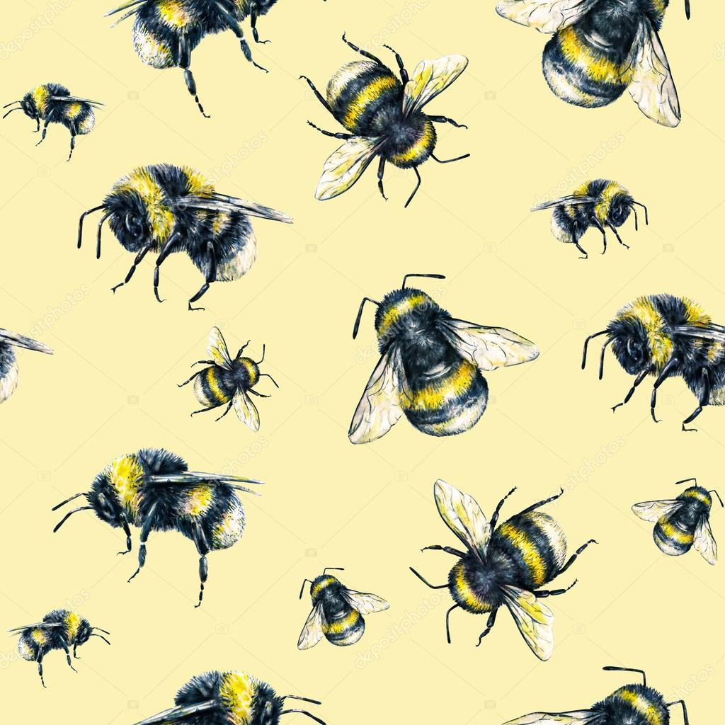 Bumblebee On A Yellow Background Watercolor Drawing Insects Art Handwork Seamless Pattern