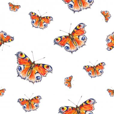 Peacock butterflies on a white background. Watercolor drawing. Insects art. Handwork. Seamless pattern