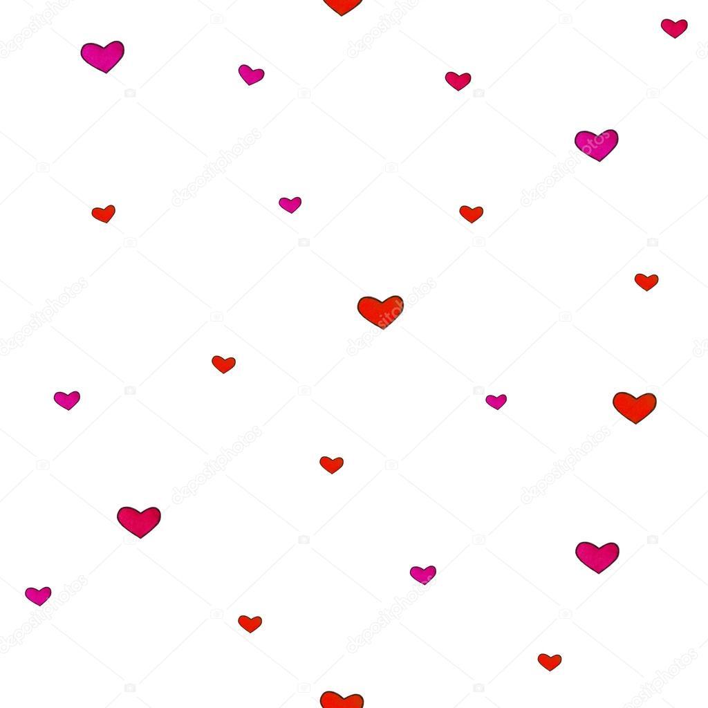Küçük Kalpler Beyaz Bir Arka Plan üzerinde Yalıtılır Seamless