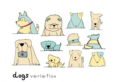 Dogs variation doodle pastel color on white background