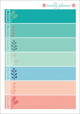 Weekly planner pastel color sweet