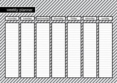 Weekly planner black frame white grey stripe