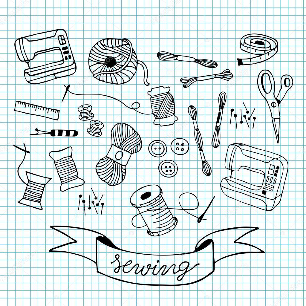 coser doodle ilustración en rejilla azul — Archivo Imágenes ...