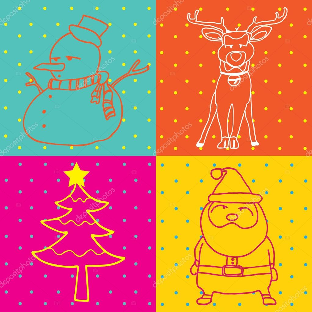 Pop Art Merry Christmas elements outline