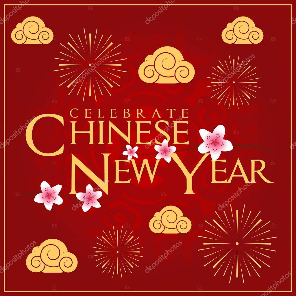 Celebrate Chinese New Year Card Minimal Design Decoration ...