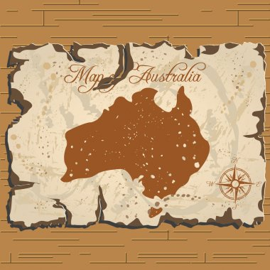 Vector old parchament. Map of Australia.
