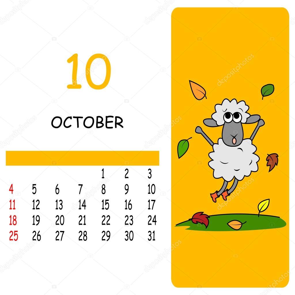 October Calendar Illustration : Cartoon october calendar — stock vector familyf