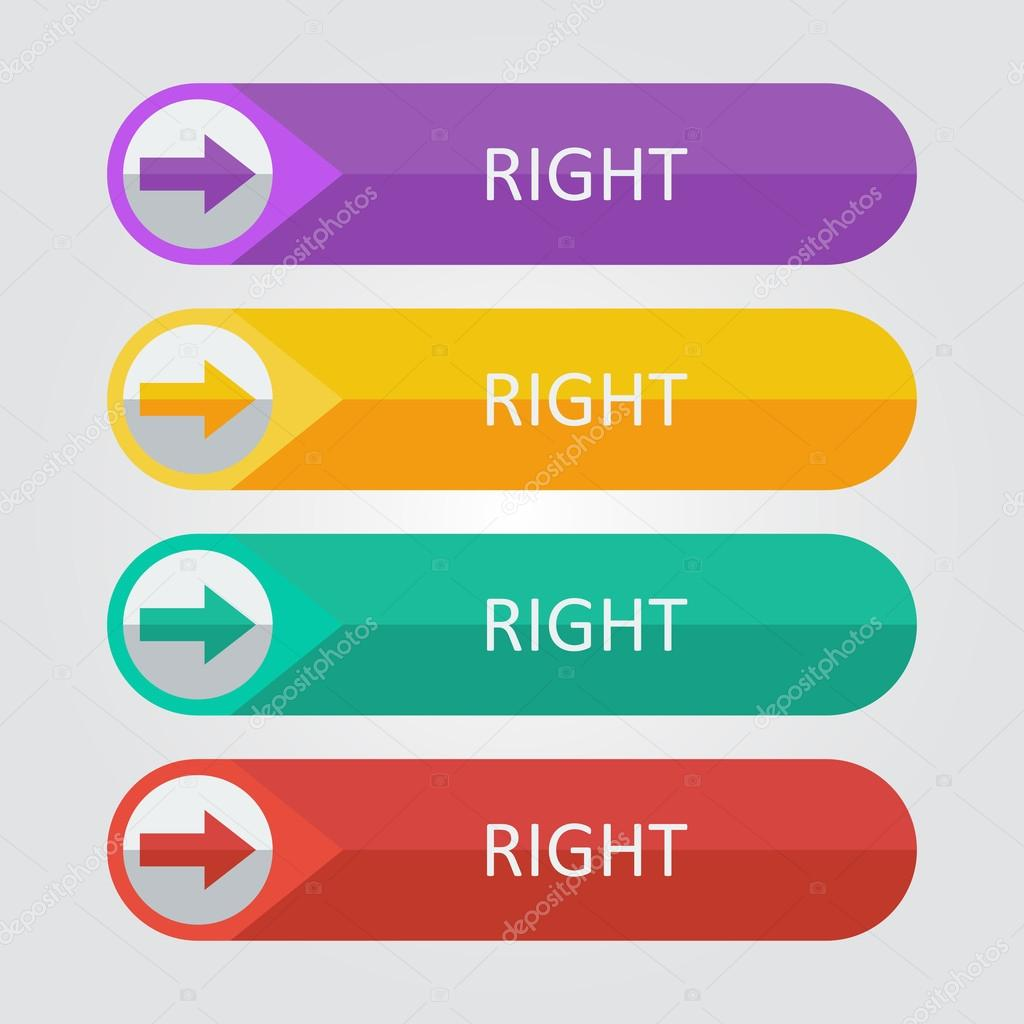 Right arrow Icon buttons set