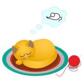 Spící Kreslená kočka