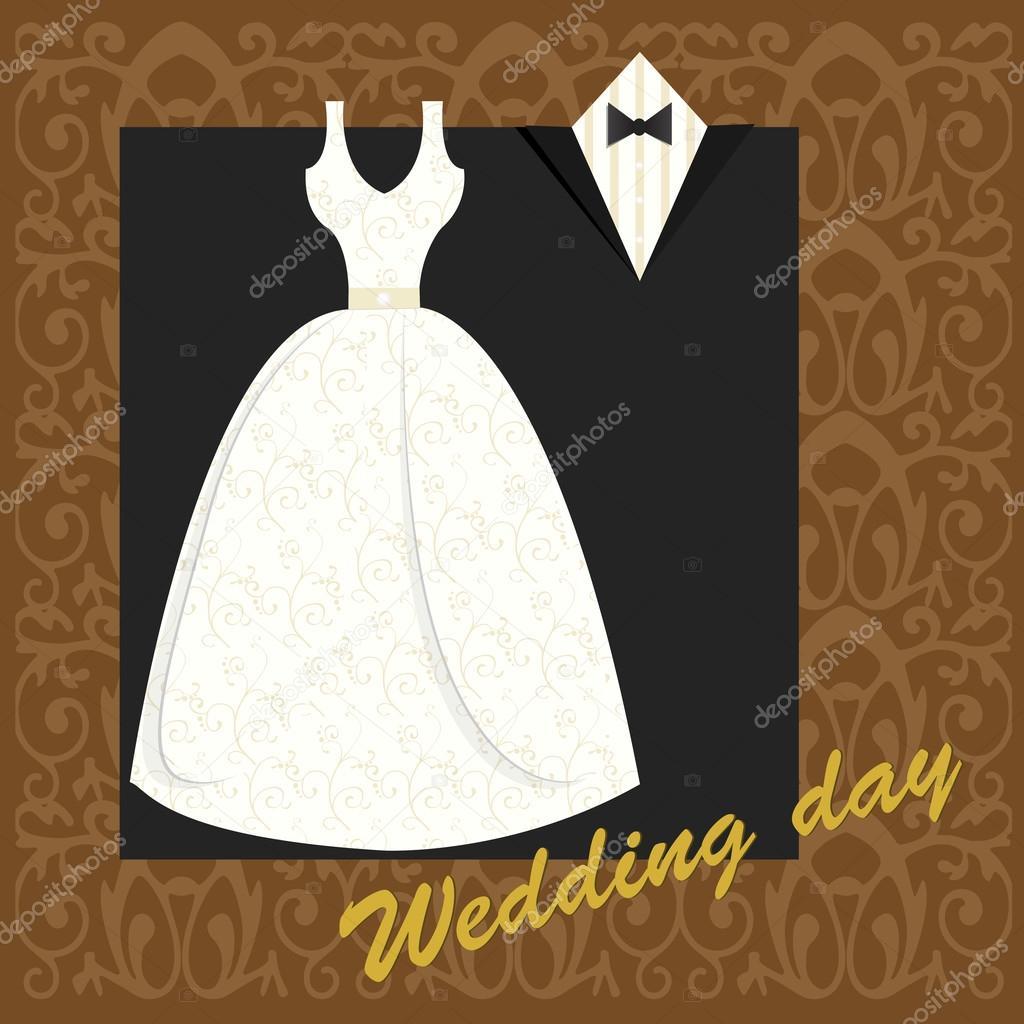 0405e11ff Invitación de boda con vestido y traje. — Archivo Imágenes ...