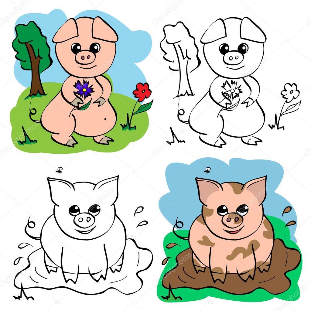 Cochinillo Divertido dibujos animados — Archivo Imágenes Vectoriales ...