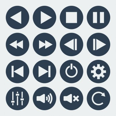 music control icons set.