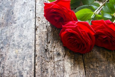 Three red roses on a wooden background with the stem and leaves