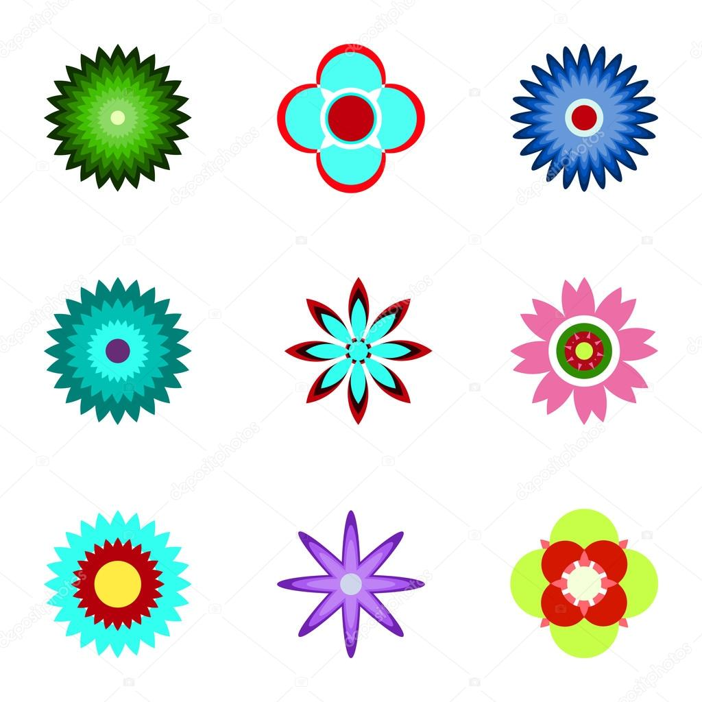 Set of flat icon flower icons in silhouette isolated on white. C
