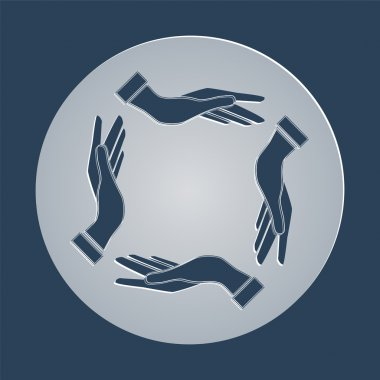 four opened hands in a pray gesture vector