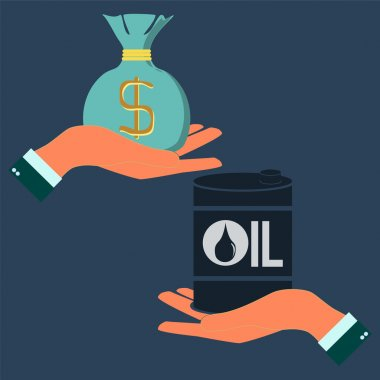 Market trading of oil resources. concept of mineral oil industry