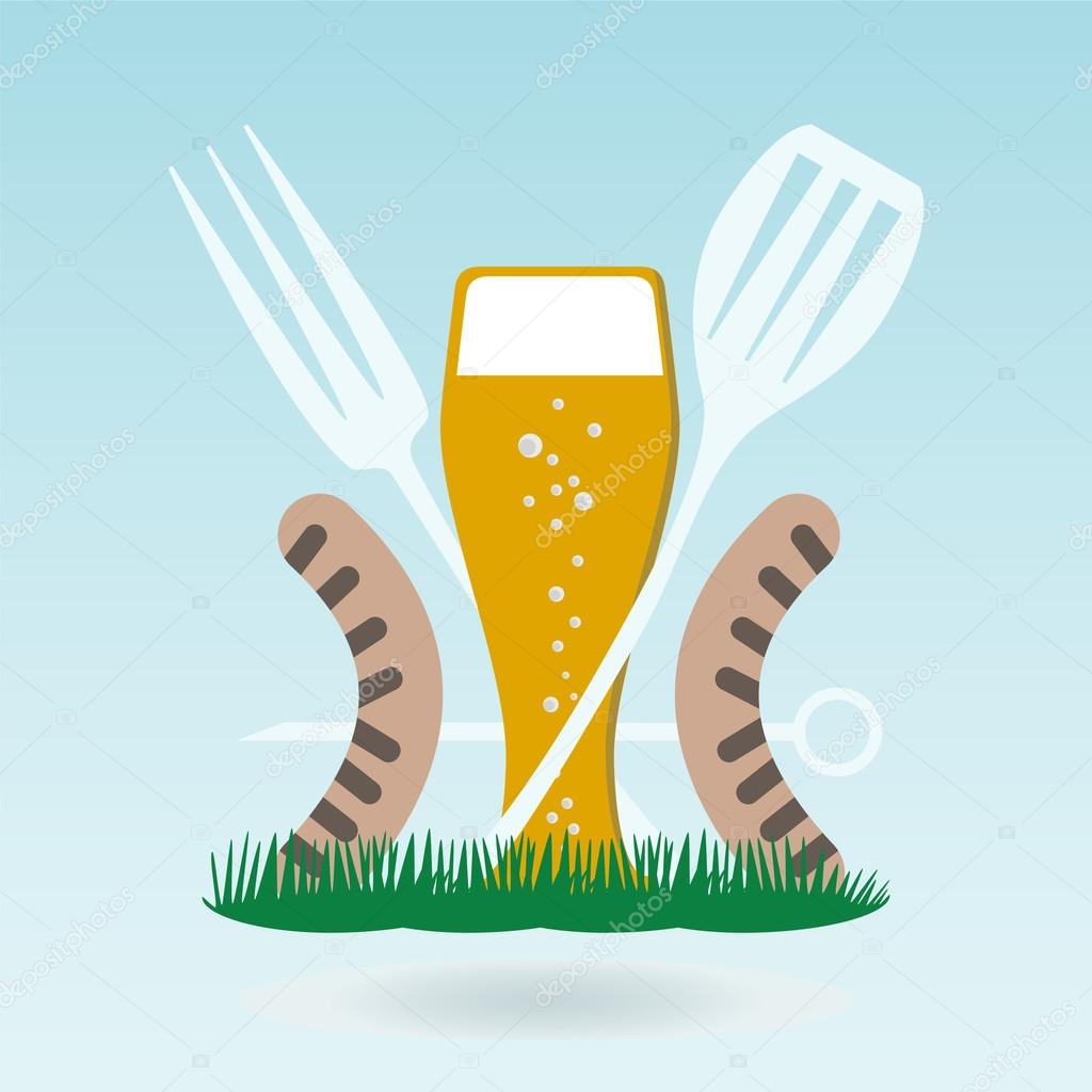 Barbecue beer. Grilled sausages on forks on the background of th