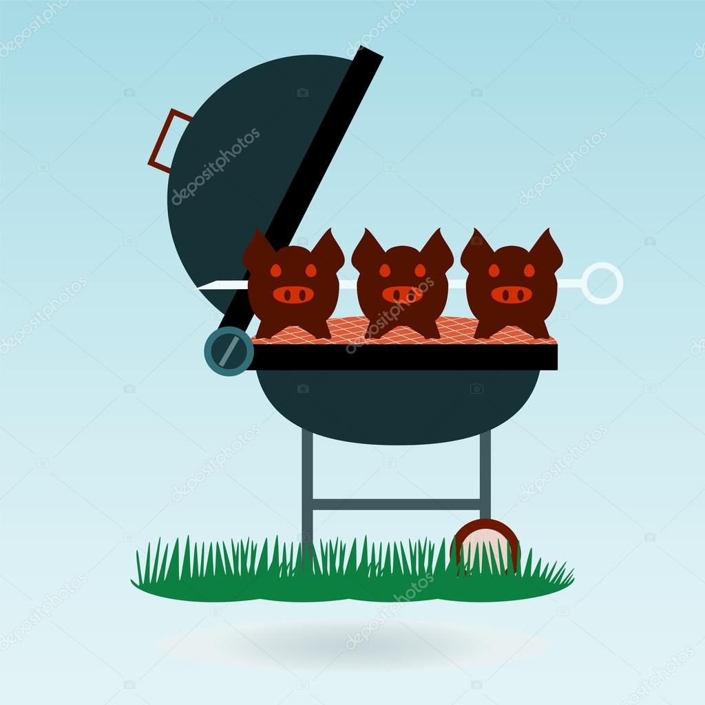 Barbecue. Grilled pigs on forks on the background of the natural