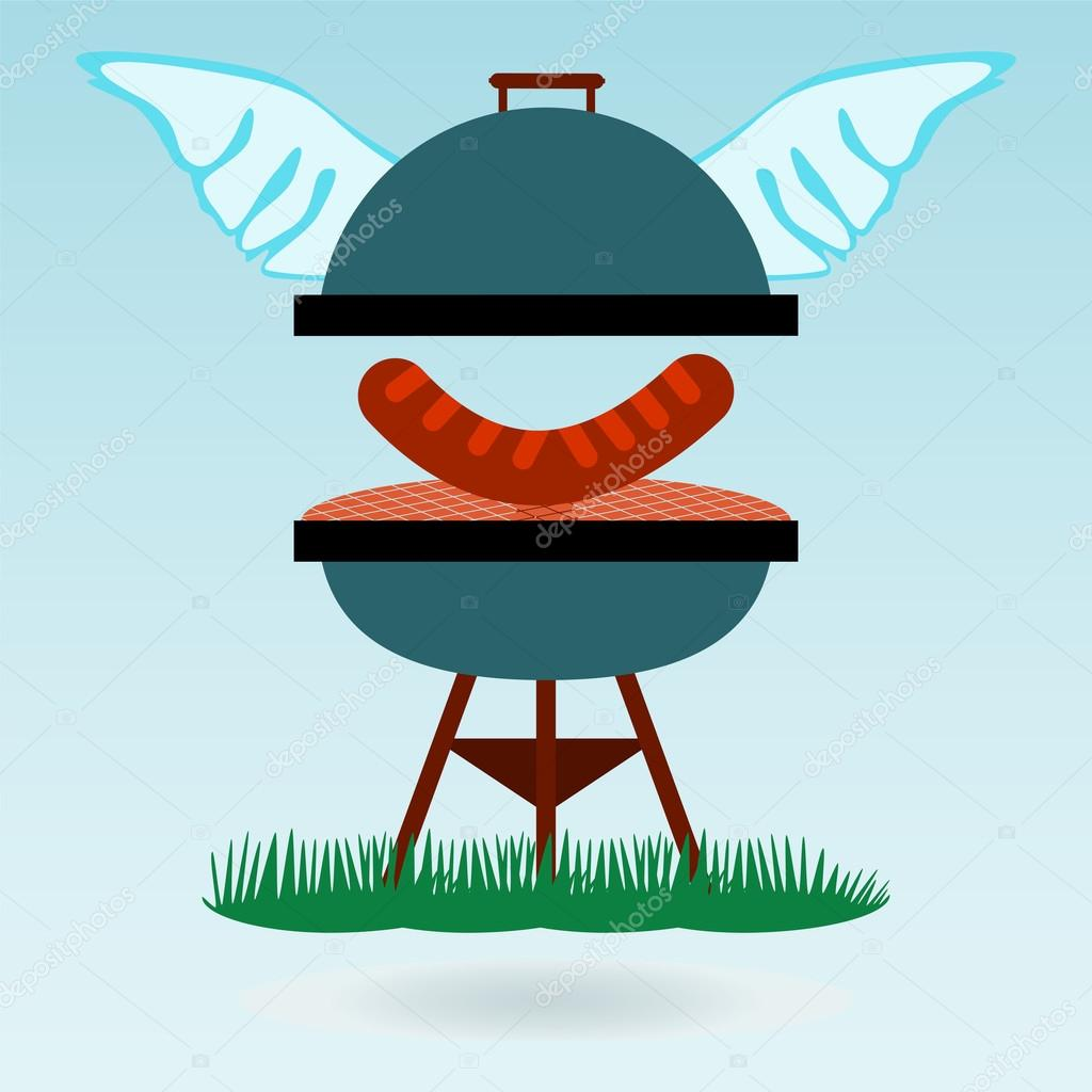 Barbecue wings. Grilled sausages on the background of the natura